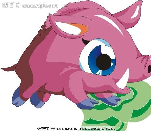 十二生肖图 猪 卡通 动画 猪年 野生动物 生物世界 矢量 cdr