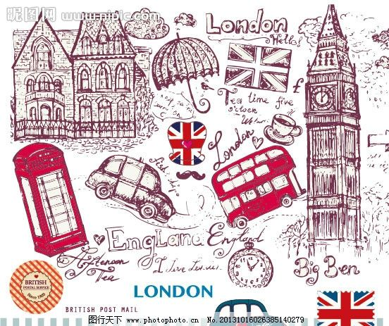 伦敦线搞 london 线条 线搞 伦敦 手绘 汽车 雨伞 杯子 箭头 电话亭