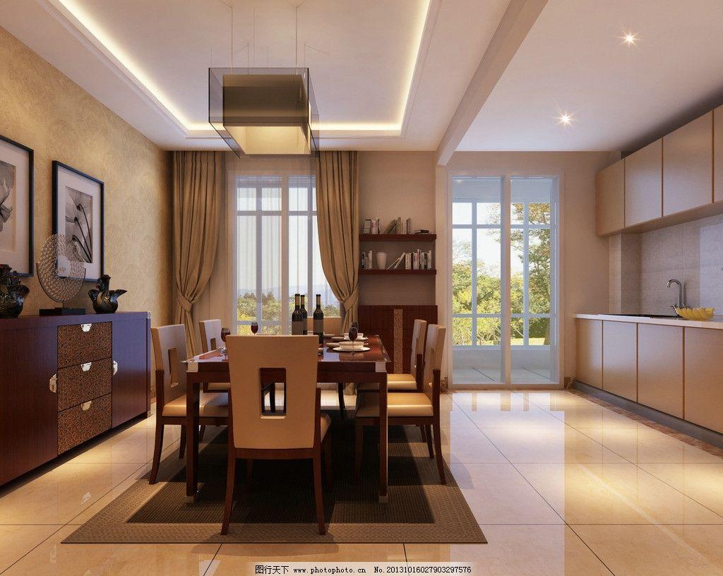 餐厅      餐桌 橱柜 吊顶 吊灯 窗户 窗帘 玻璃门 家装效果图 室内