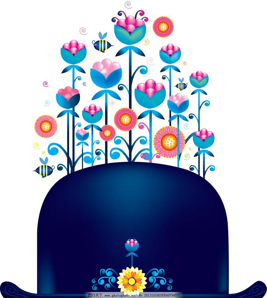 花朵和帽子 花纹 底纹 手绘 卡通 壁纸 其他 动漫动画 设计 118dpi