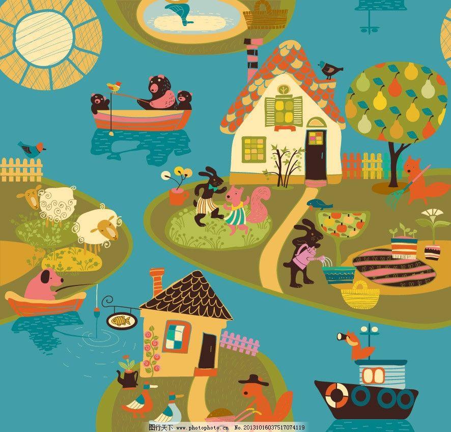小船 小熊 松鼠 狐狸 家园 可爱卡通 儿童 卡通画 卡通 布纹 装饰画