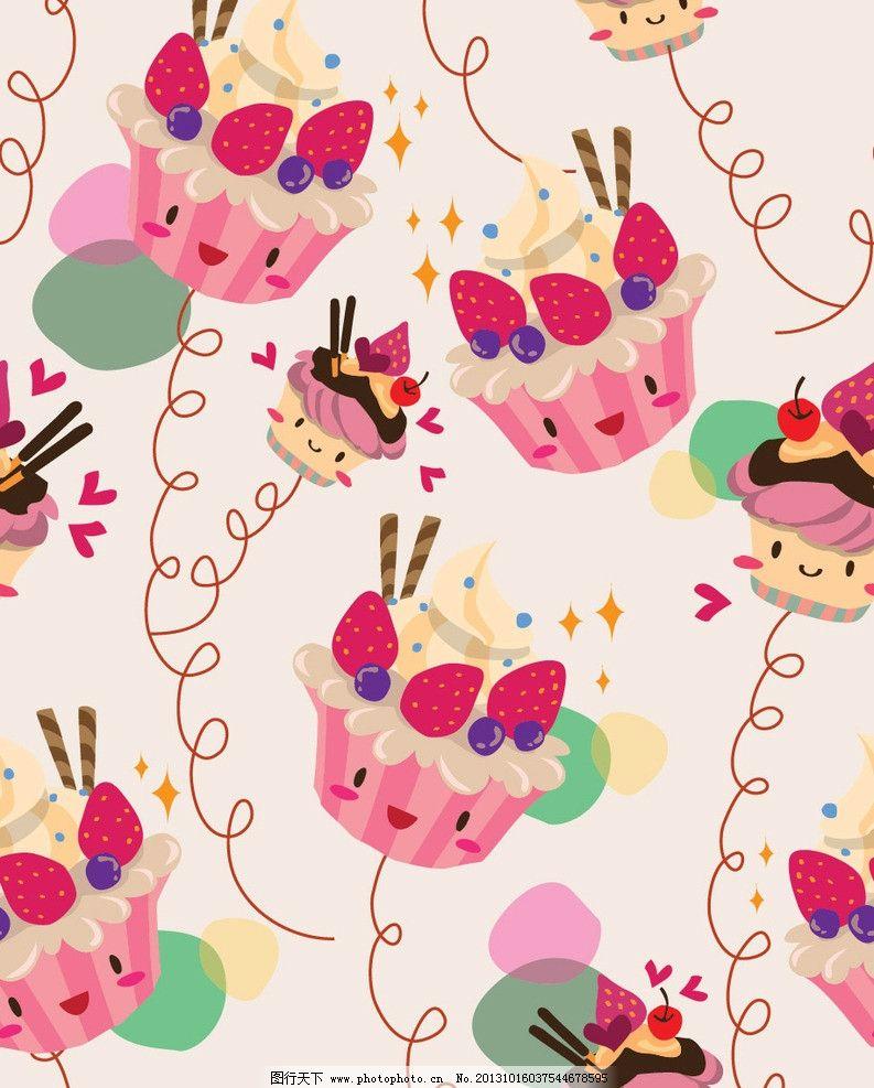 卡通插画 蛋糕 甜点 可爱卡通 儿童 卡通画 卡通 布纹 装饰画 时尚