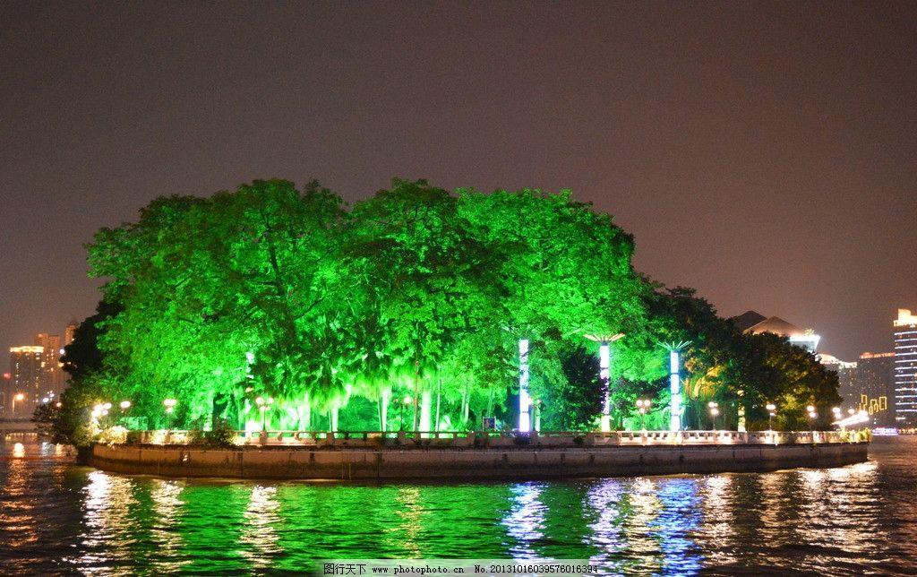 沙面岛 广州 夜景 树 江边 园林建筑 建筑园林 摄影 300dpi jpg