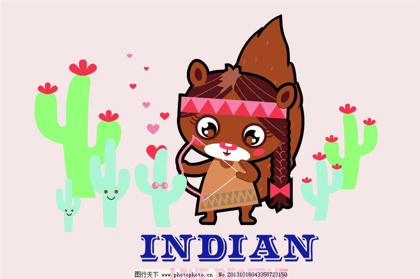 小松鼠 松鼠 仙人掌 可爱的松鼠 卡通动物 时尚插画 卡通画 卡通背景