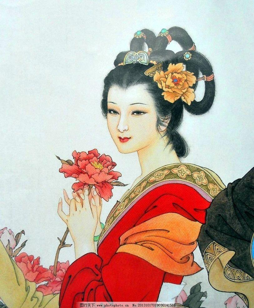 项维仁绘画 古典美女 牡丹花 簪花 项维仁工笔画 人物画 红衣女 绘画