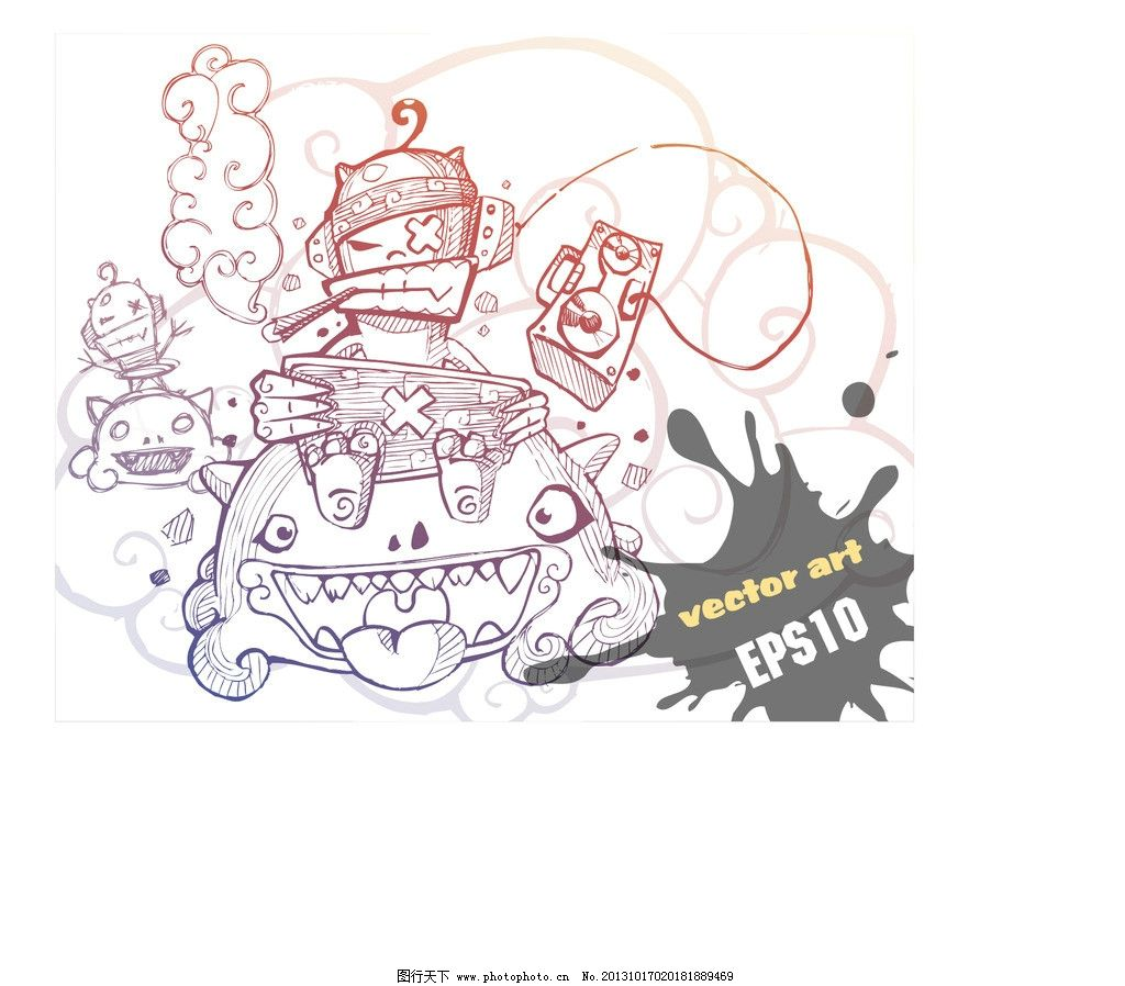 卡通插画 创意设计 时尚 印花 图案设计 t恤印花 卡通画 卡通 可爱