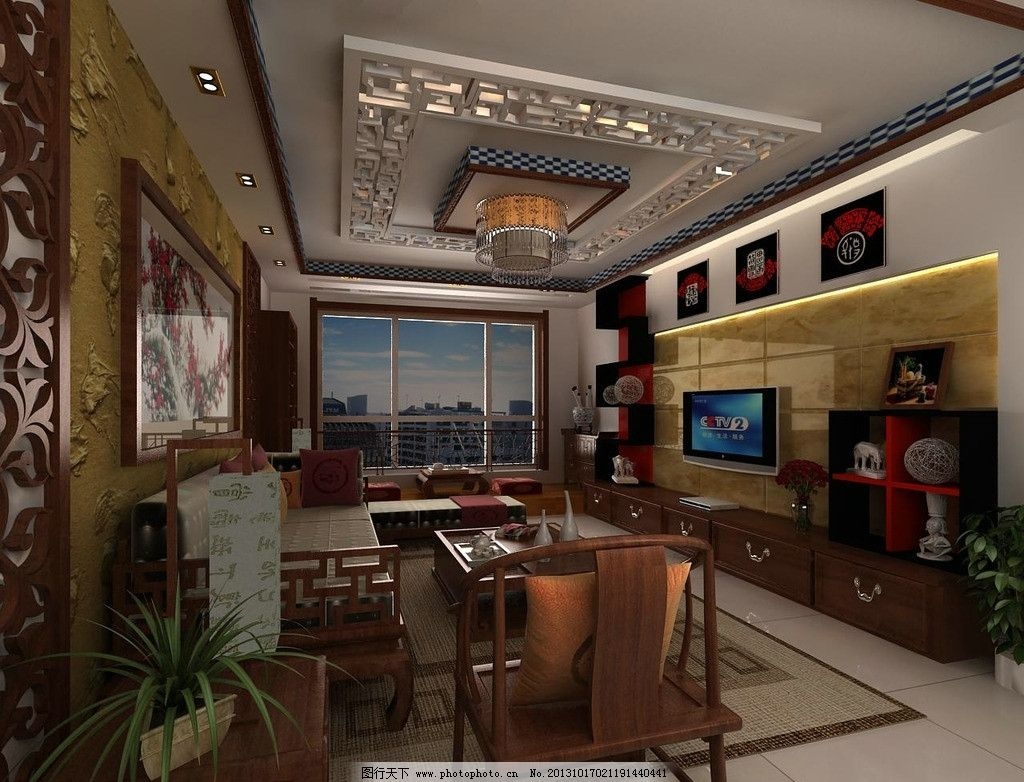 中式客厅设计效果图图片