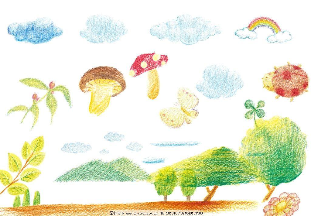 自然风景手绘风 树 香菇 瓢虫 彩虹 插画 手绘 蜡笔 彩色铅笔 花云