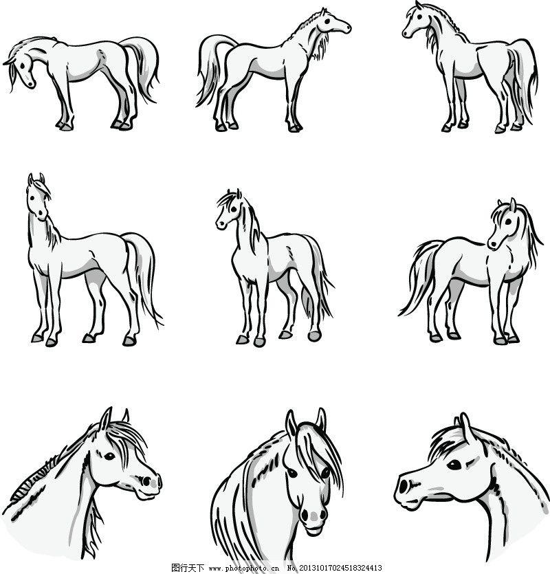 手绘马图片