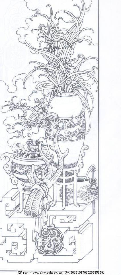 花瓶 花 线描 工笔画 黑白 白描 线条 陈金莺 矢量 陈金莺工笔画册 绘