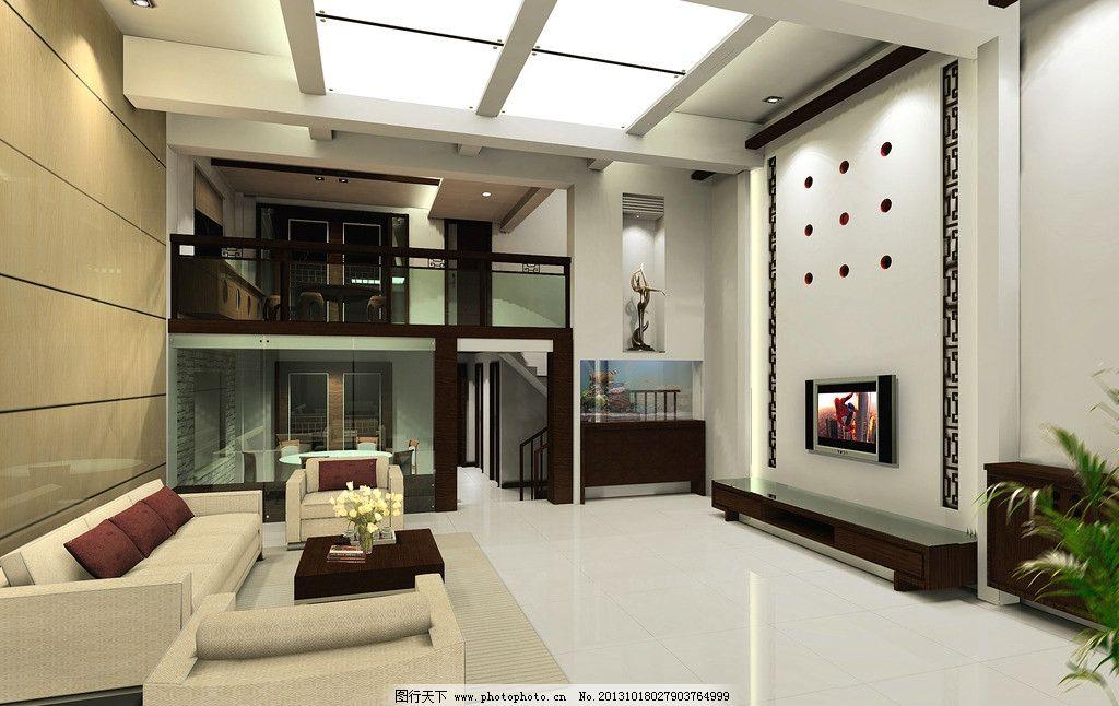 室内效果图 客厅 沙发 电视背景墙 灯图片
