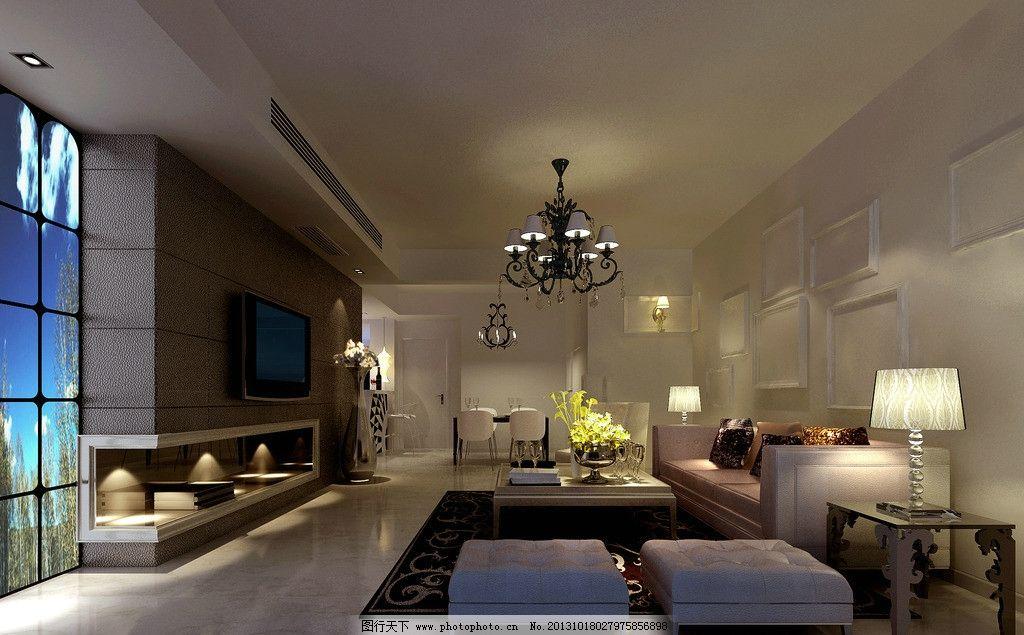 室内效果图        室内 沙发 电视背景墙 灯 室内设计 环境设计 设