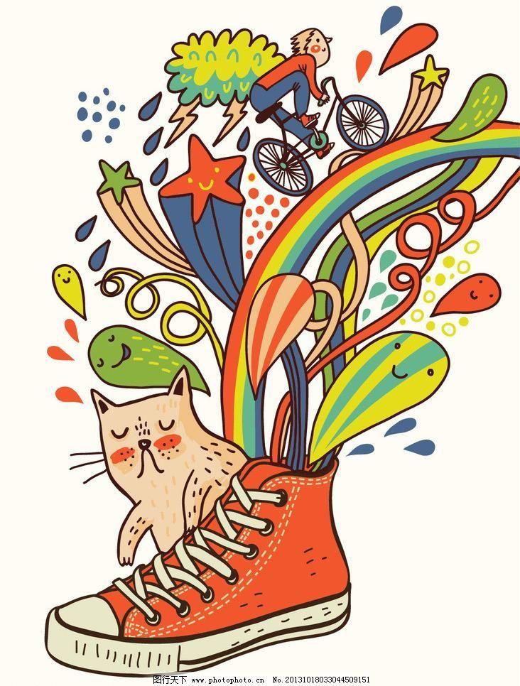儿童服装 儿童绘画 鞋子矢量素材 鞋子模板下载 鞋子 帆布鞋 创意插画