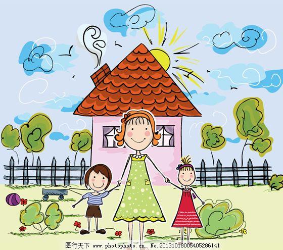 卡通家庭插画矢量图图片