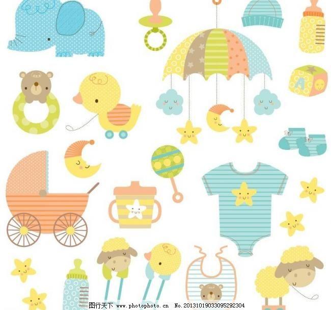 婴儿卡通 背景画 背景素材 背景元素 插画 插画设计 大象 动画背景