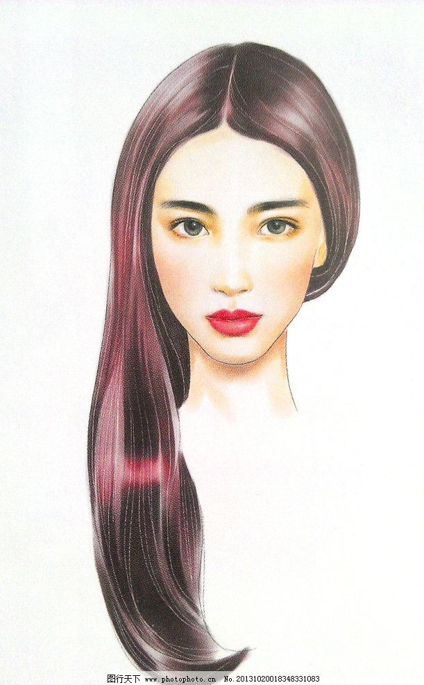 手绘美女 长发 美女 手绘      软件手绘 扫描图 设计 72dpi jpg