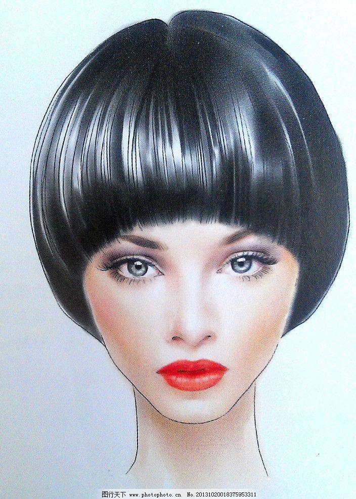 黑发美女 短发 美女 手绘      软件手绘 扫描图 动漫人物 动漫动画