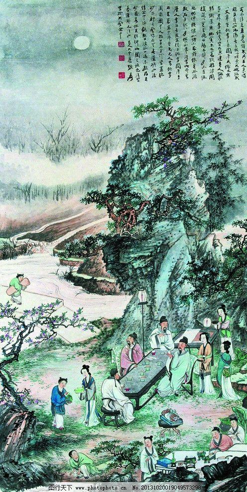 桃园夜宴 美术 中国画 水墨画 园林 溪流 古代人物 月夜 夜宴 国画