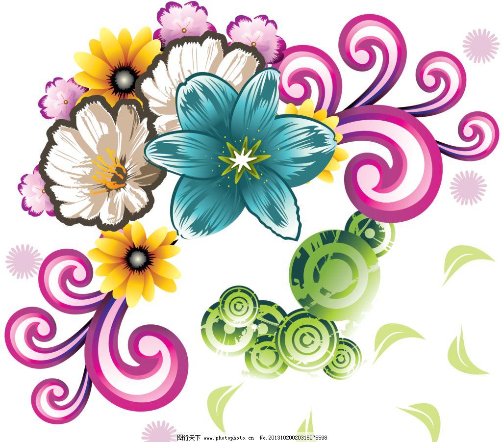 花纹素材 手绘花 边框图案 日本 韩国 流行 手绘 边框 花边 彩色 设计
