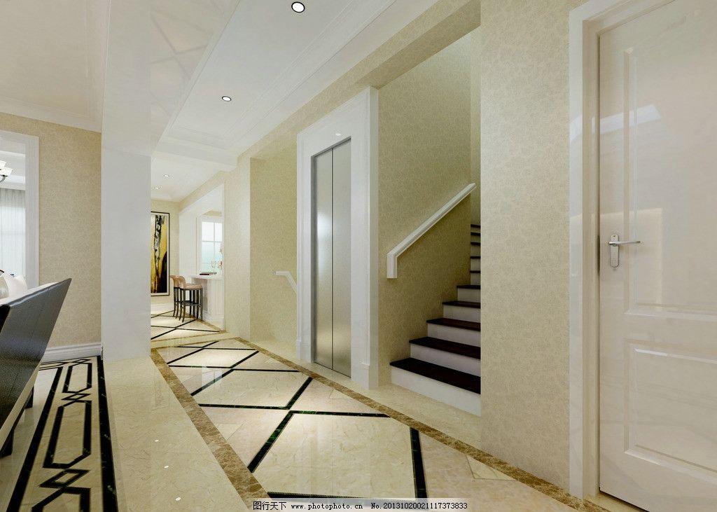 走廊 家装 别墅 欧式 楼梯 电梯 3d作品 3d设计 设计 72dpi jpg