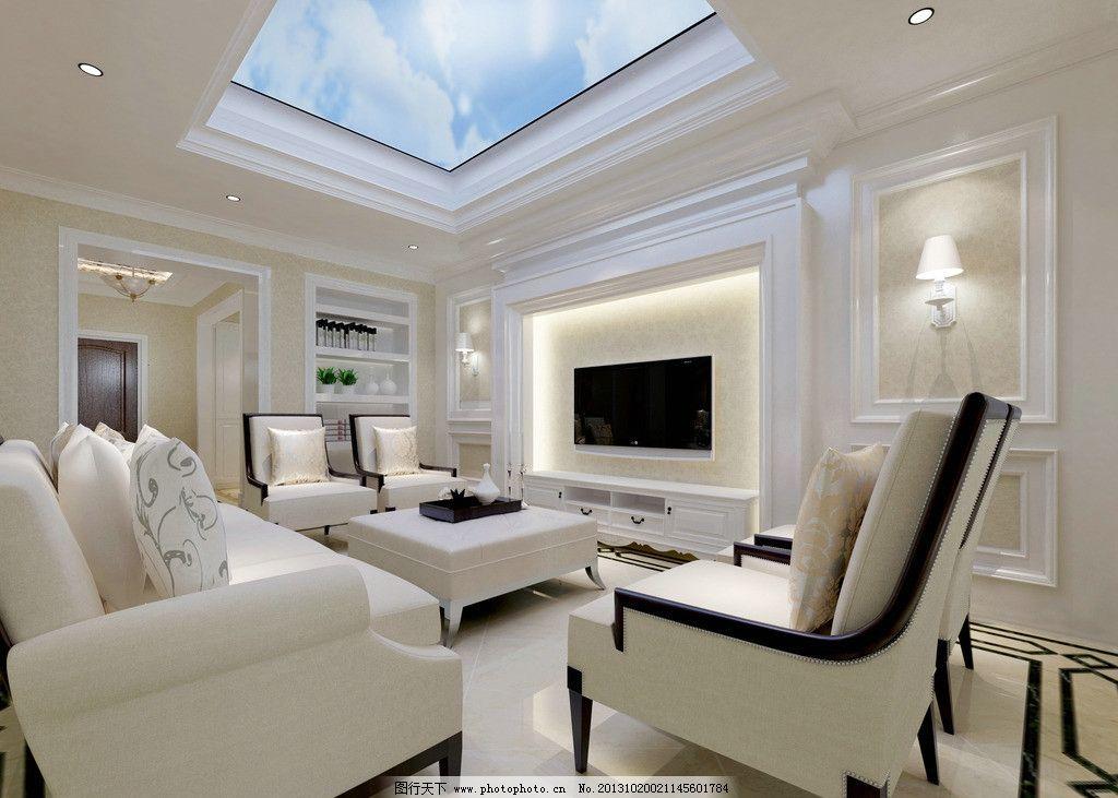 客厅图片,家装 别墅 欧式 天窗 天井-图行天下图库