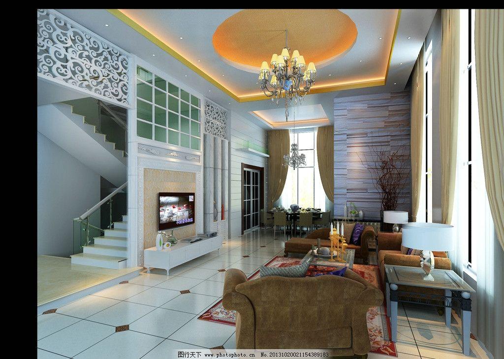 欧式客厅 欧式客厅院果图        玻璃隔墙 水晶吊灯 室内设计 3d设计