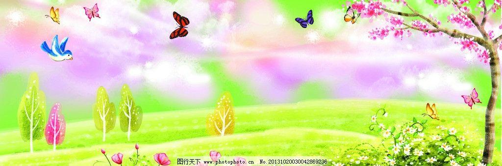 设计图库 广告设计 海报设计  韩国 唯美背景 梦幻背景 卡通背景 树木