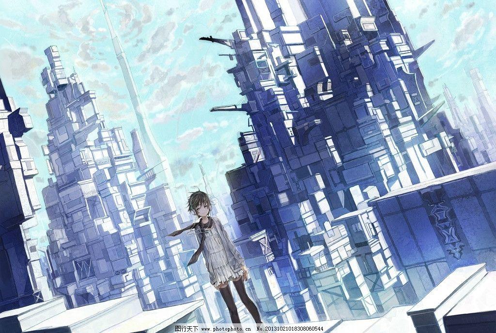动漫人物 蓝天 白云 建筑 高楼 动漫场景 手绘 数字绘画 艺术 动漫