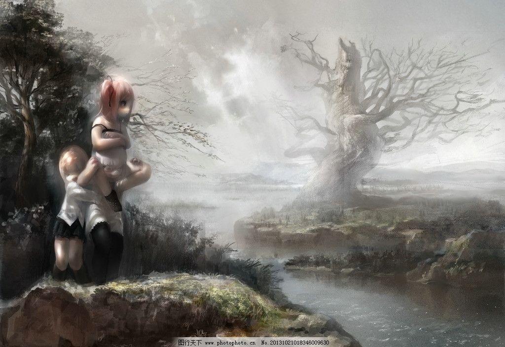 动漫人物 女孩 河流 枯树 动漫场景 手绘 数字绘画 艺术 动漫壁纸