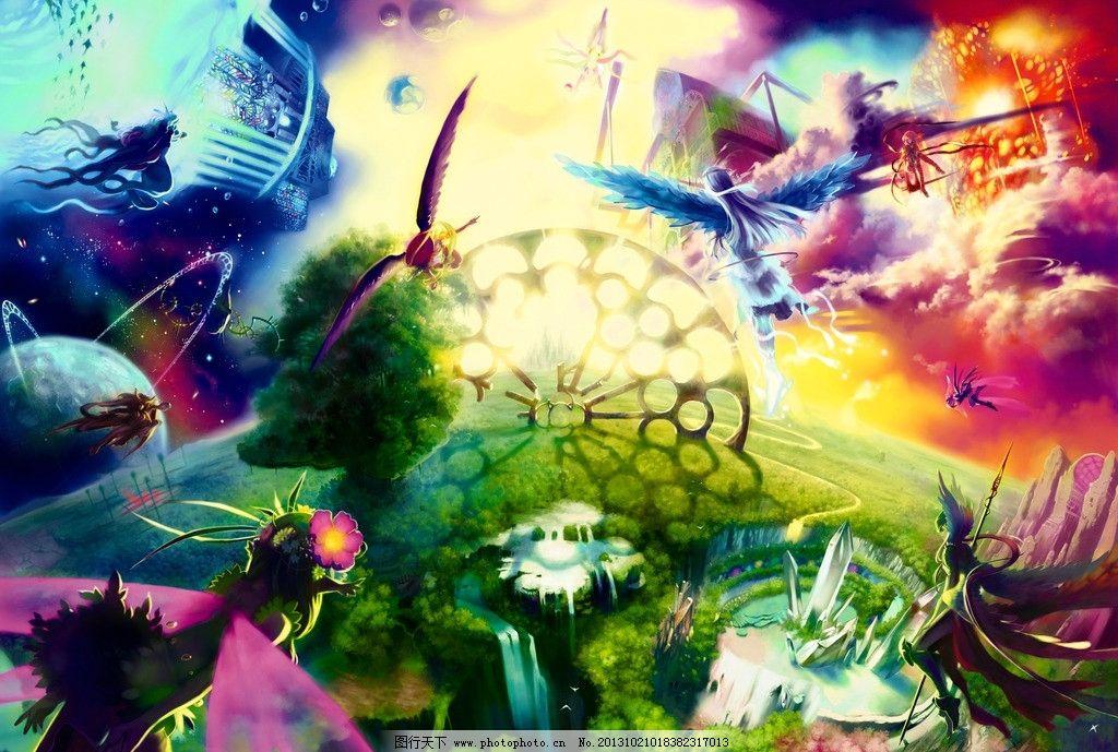 动漫壁纸 星球 天使 翅膀 战士 唯美 动漫场景 手绘 数字绘画 艺术