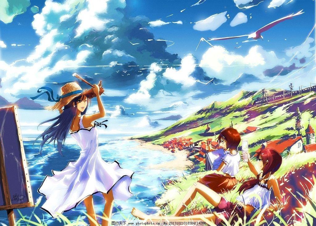 动漫人物 蓝天 白云 大海 海鸥 女孩 房屋 动漫场景 手绘 数字绘画