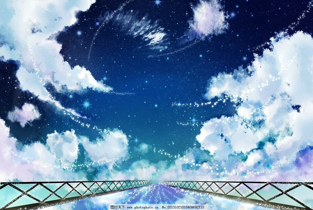 动漫风景 蓝天 白云 唯美 动漫场景 手绘 数字绘画 艺术 动漫壁纸
