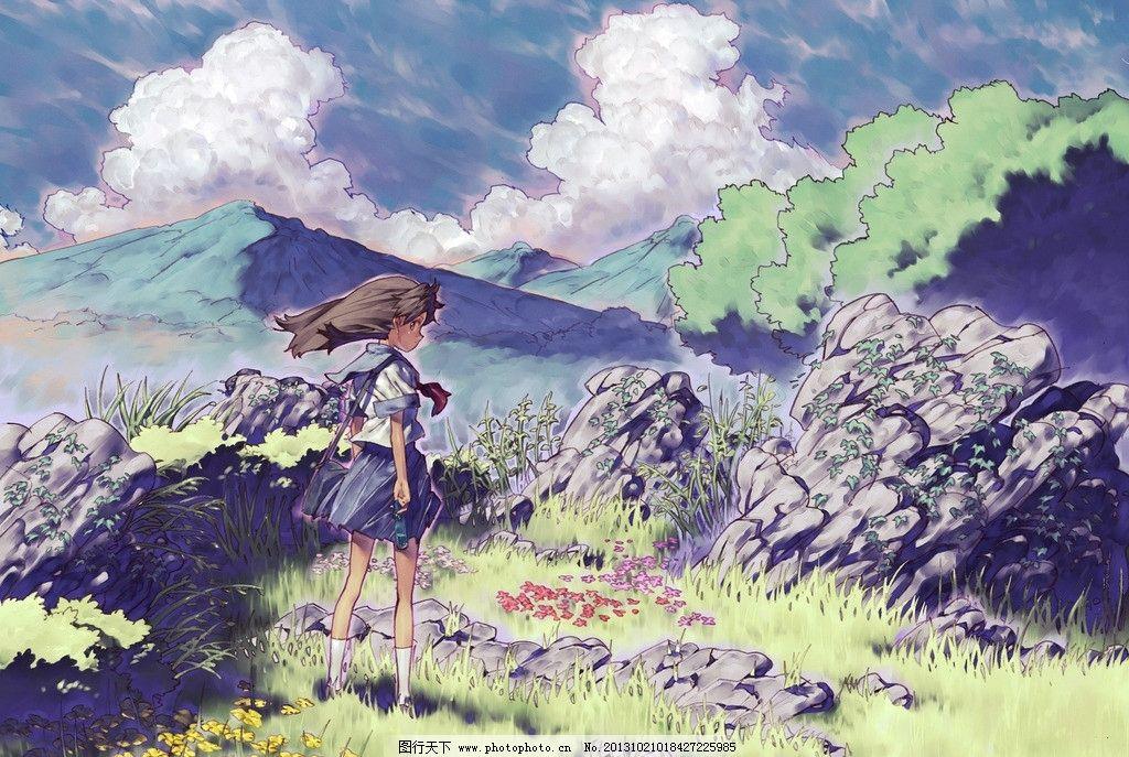 女孩 蓝天 白云 山峰 动漫场景 手绘 数字绘画 艺术 动漫壁纸 风景