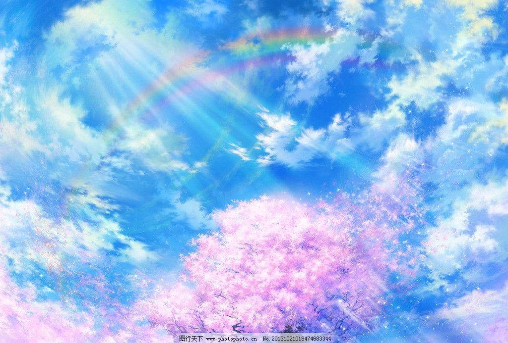 蓝天 白云 光线 樱花 彩虹 动漫场景 手绘 数字绘画 艺术 动漫壁纸