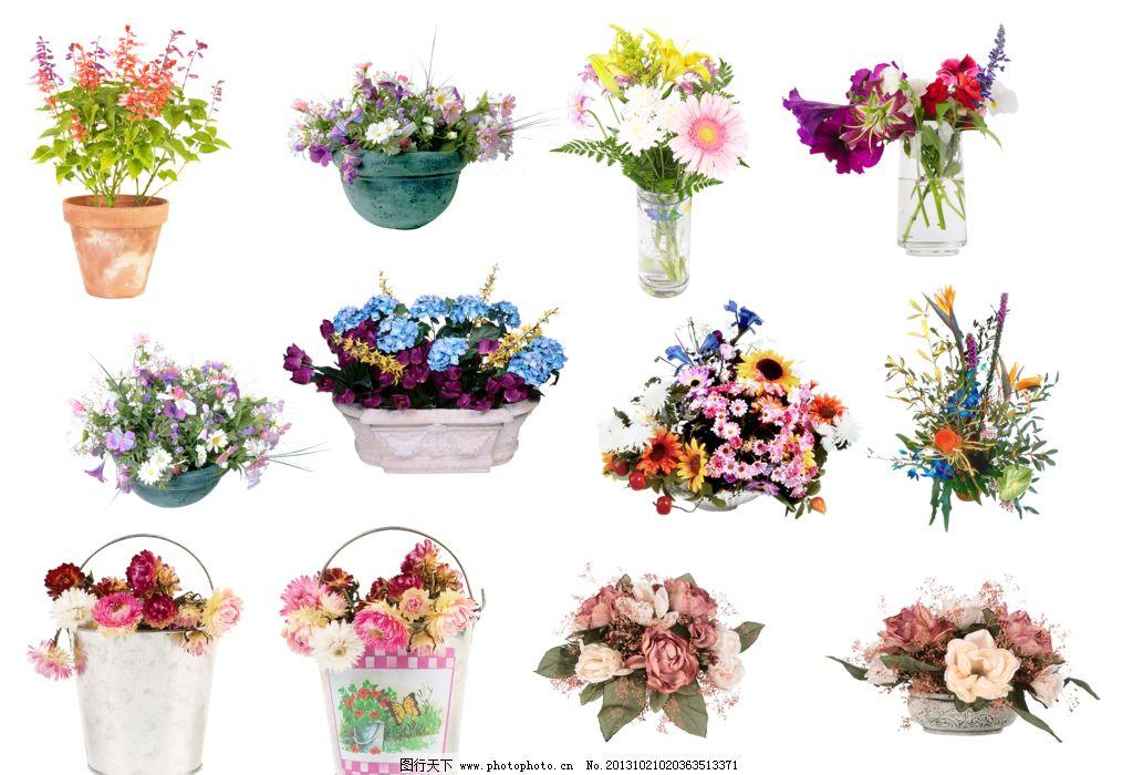 花卉 各种花盆 花盆 花束 盆栽 植物 盆景 布艺 手绘花朵 花朵 花瓶
