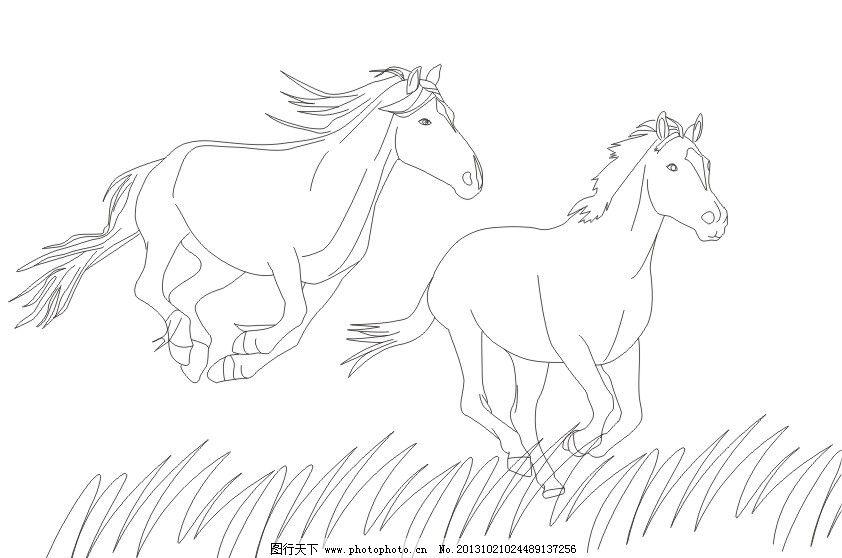 奔跑的马的简笔画步骤