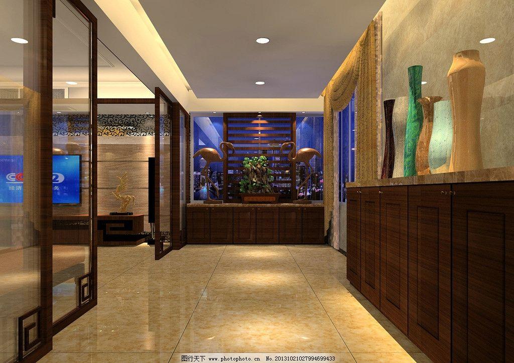 室内设计图 入户花园 玄关        中式设计 装饰设计 室内设计 环境