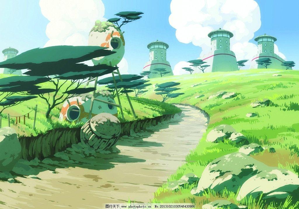 动漫风景 蓝天 白云 草地 动漫场景 手绘 数字绘画 艺术 动漫壁纸