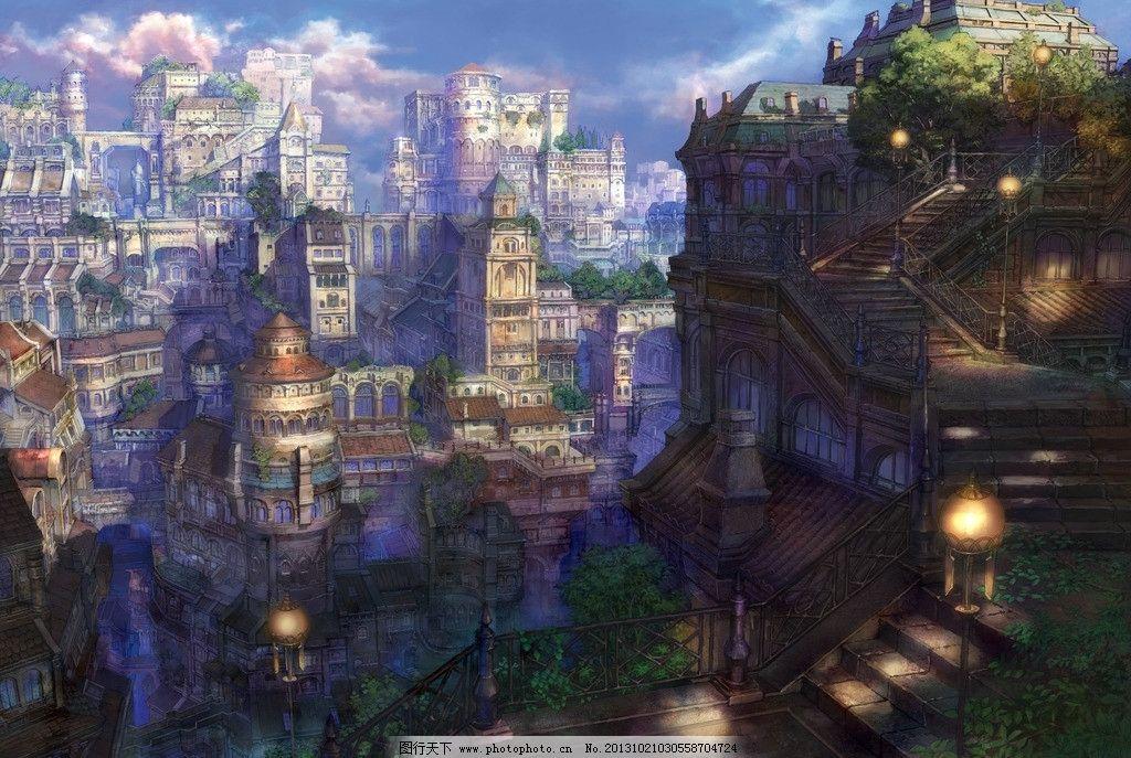 动漫风景 蓝天 白云 城镇 动漫场景 手绘 数字绘画 艺术 动漫壁纸
