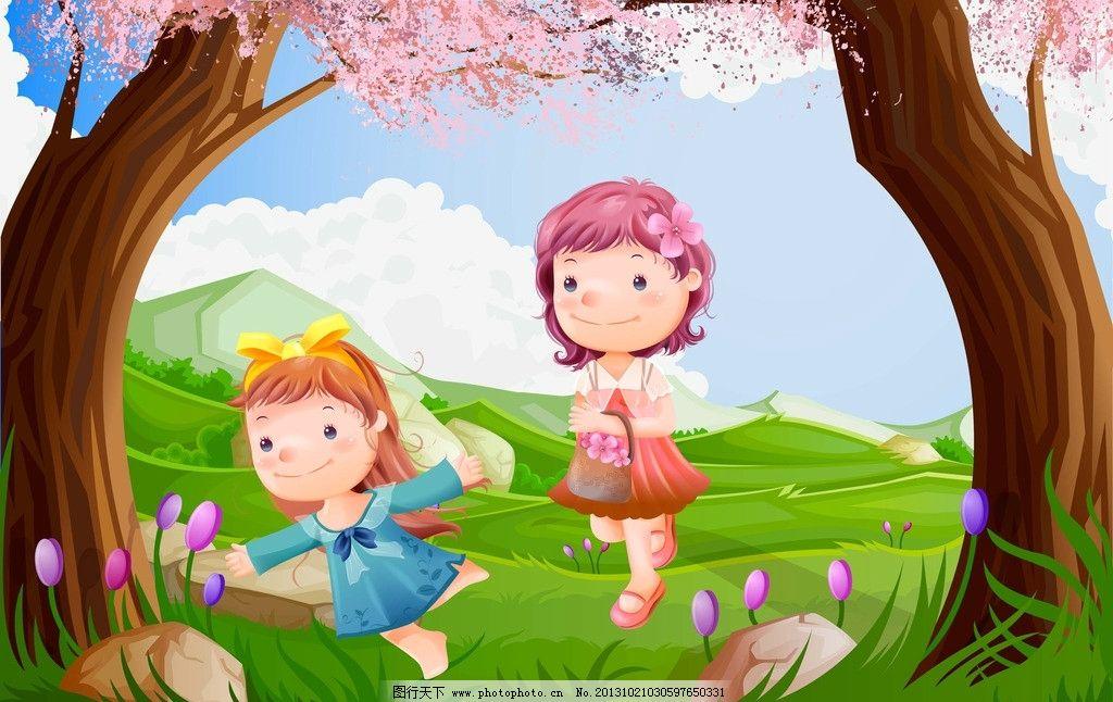 卡通风景 春天 小女孩