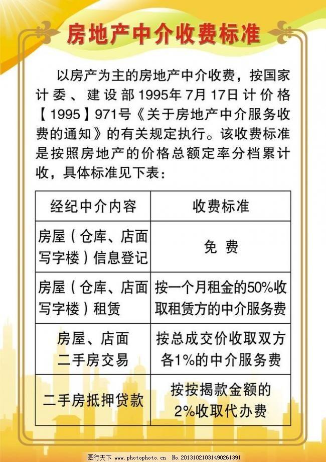 房产中介收费标准图片_店招促销_淘宝电商_图
