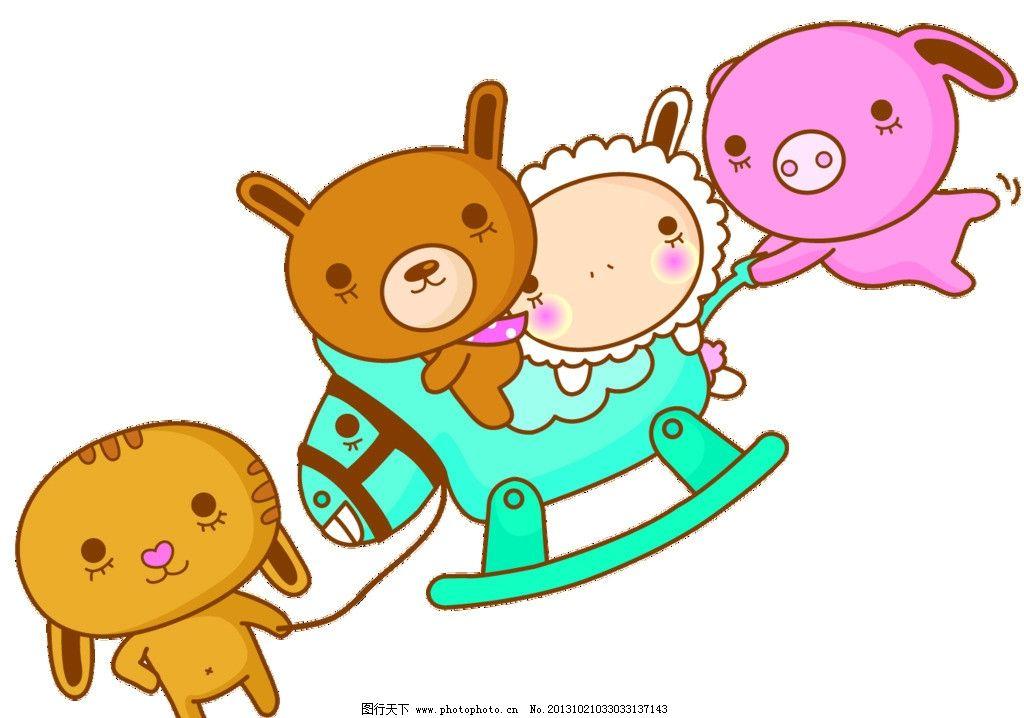 卡通动物 小动物 小熊 星星 小猪 小羊 小狗 源文件图片