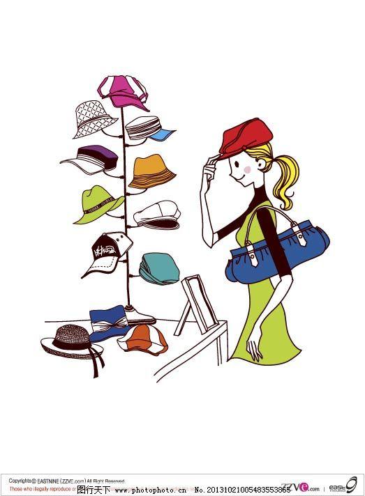 韩国手绘时尚女性生活卡通—购物_矢量人物_矢量图_图