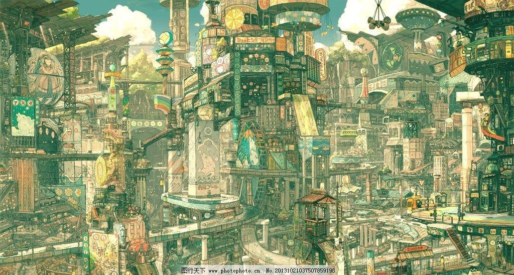 动漫风景 蓝天 白云 房屋 动漫场景 手绘 数字绘画 艺术 动漫壁纸