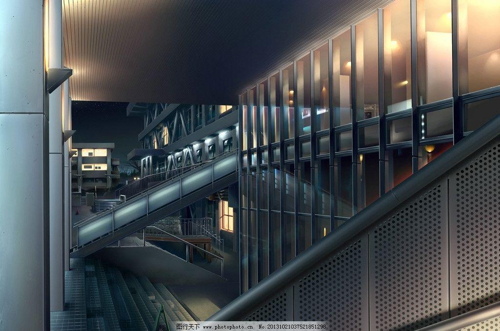 动漫场景 楼梯 办公室 灯光 手绘 数字绘画 艺术 动漫壁纸 动漫风景