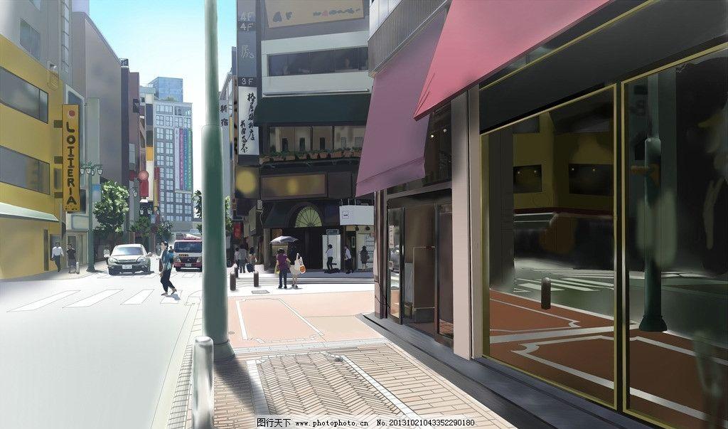 动漫风景 街道 路口 汽车 店铺 动漫场景 手绘 数字绘画 艺术 动漫