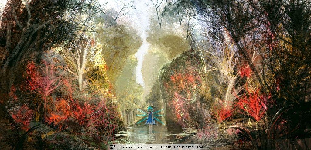 动漫风景 女孩 精灵 流水 树林 动漫场景 手绘 数字绘画 艺术