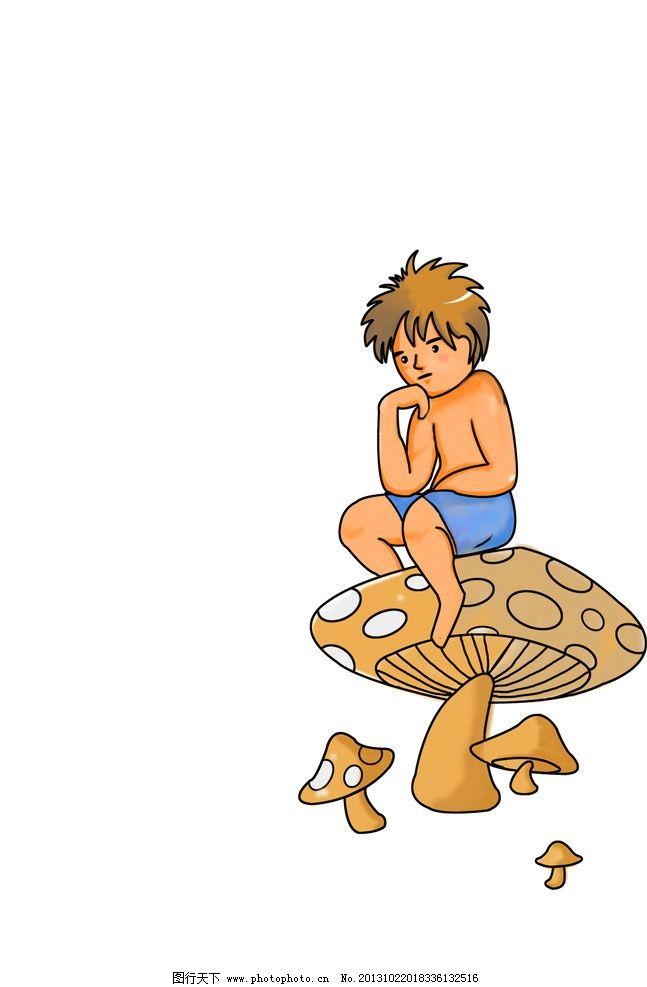 手绘儿童插画 蘑菇 小孩 背景 儿童画 儿童插画 动漫人物 动漫动画