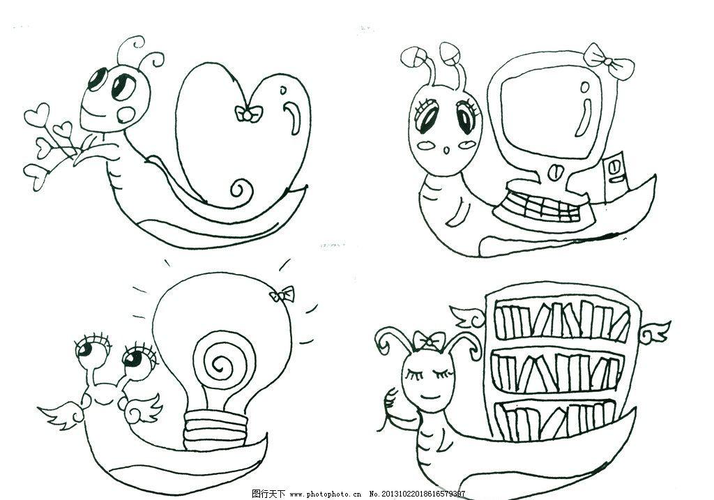 蜗牛简笔画绘画步骤图片