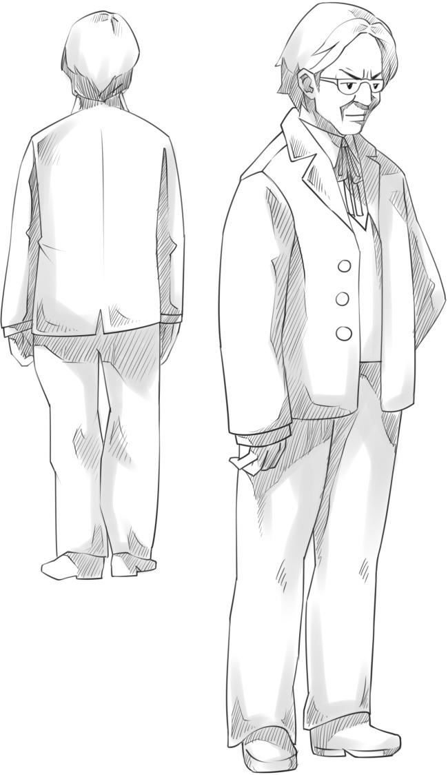 线描图片素材眼镜男老师中年人正背面线稿